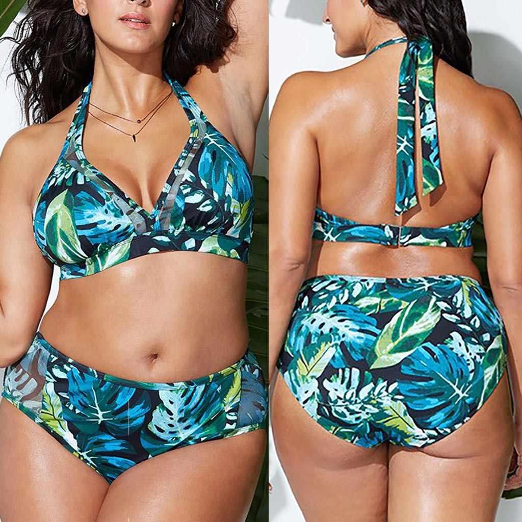 Wanita Push Up Swimwear Wanita Seksi Halter Pesta Pantai Bikini Biquinis Feminino 2019 Perlindungan Matahari Pakaian Renang Plus Ukuran 18Jan10
