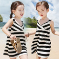 Free shipping!2015 Summertime baby girl dress,Fashion,Casual beach girls beach dress.Stripe Girls harness dress.kids wear