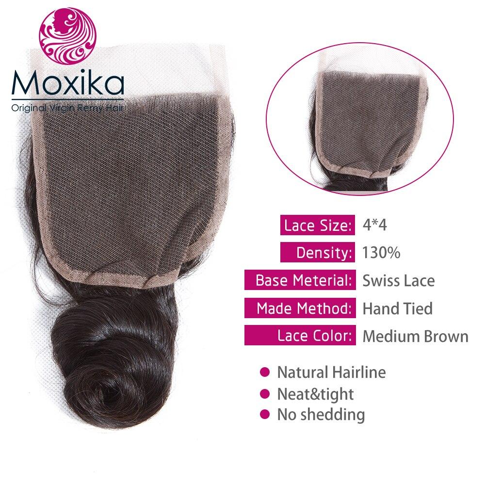 Moxika 髪バンドル閉鎖 3 バンドルブラジル髪織りとレースの閉鎖レミー人間の髪のバンドル閉鎖  グループ上の ヘアエクステンション & ウィッグ からの 3/4 バンドル留め具付き の中 3