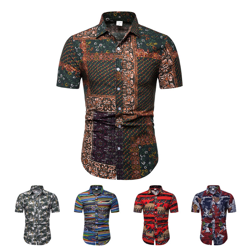 2019 M-5XL Men Hawaiian Short Sleeve Shirt Floral Printed Beach Sea Shirt Vintage Printing 100% Cotton linen Breathable Blusas(China)