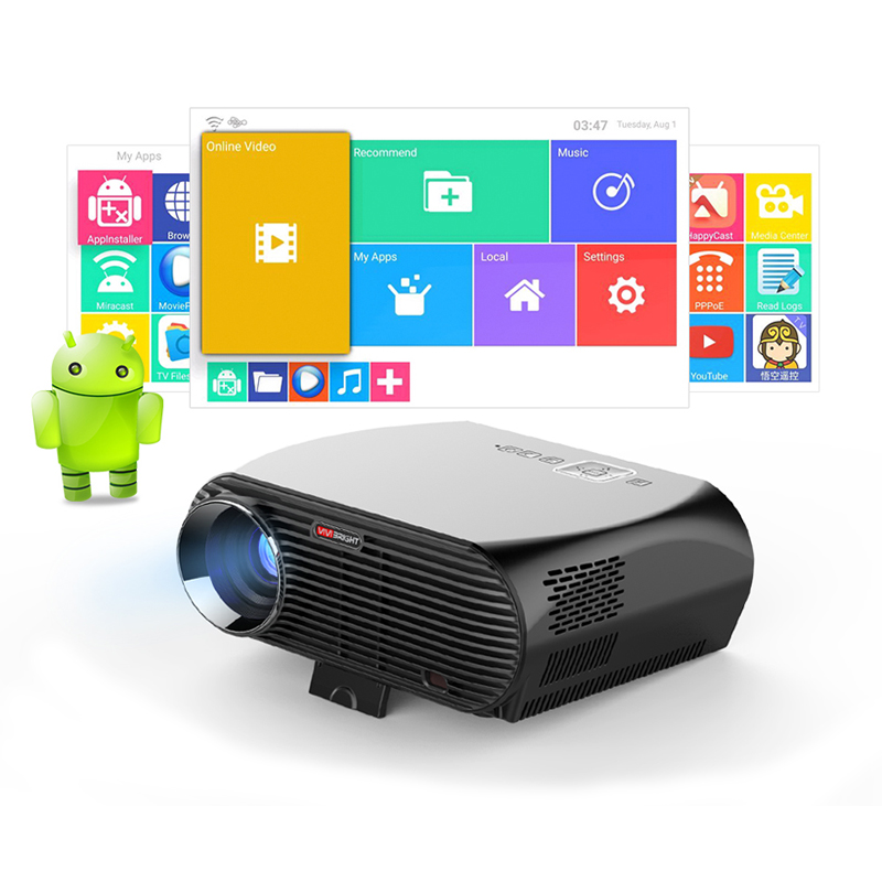 Betrouwbare Vivibright Android 6.0.1 Led Projector Gp100 Up. 1280x800 Resolutie 3200 Lumens Ingebouwde Wifi Bluetooth, Dlan Miracast Airplay