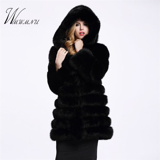 Elegant Faux Fox Fur Coat Women Winter casual Warm Luxury Fake Fur coat 2018 Fashion fluffy Coats Female Hooded Jacket Overcoat 1