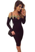 ladies Night Club wear Cocktail Formal autumn winter women's bodycon black Embroidered Off Shoulder Long Sleeve Midi Dress 61239