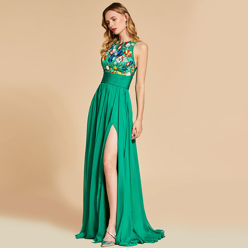 Tanpell Vintage Prom Dresses Embroidery Sleeveless Floor Length A Line Gown Women Evening Party Formal Custom Long Prom Dress