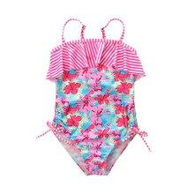 купить 2019 New Swimsuit Children One Piece Swimwear  Pretty Flower Print Flounce Ruffled Swimsuit for Girl Baby Swimwear онлайн