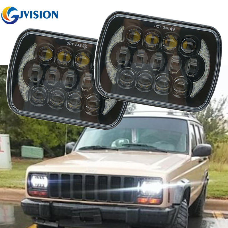 7'' Square led headlight Hi/Lo Beam with Angel eyes DRL 7x5 inch 85W LED Driving lamps for Jeep Wrangler YJ Cherokee XJ Trucks 2pcs 2017 new design 7 inch 40w motorcycle led auto angel eyes led headlight bulb with high quality