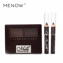 Menow Two-color eyebrow porwder Belt Eyebrow Brush Gifts with Eyeliner Pen Waterproof Natural Stereo Hot selling Makeup E12002(China)