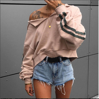Sexy V Neck Striped Hoodies Women Long Sleeve Cap Hooded Sweatshirt Femme Hoody Cropped Jacket Coat