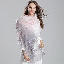 Натуральный шелк, шерсть, шарф, шаль, женский длинный стиль, вышивка, шарфы, хиджаб, весна, осень, зима, модный тренд, Женская бандана 8585