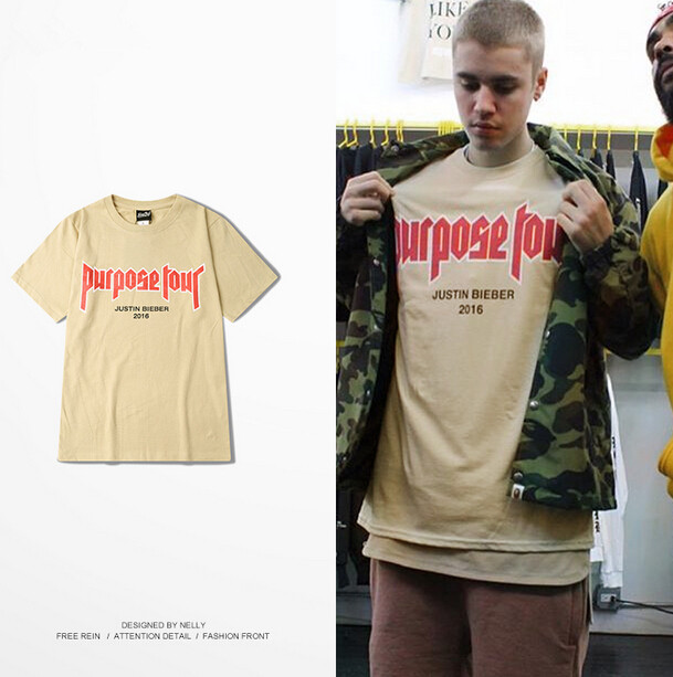 7bdb37763 Purpose Tour Vfiles Tee Justin Bieber Clothes Fear Of God Cotton Short  Sleeve T-shirt Brand Hip Hop Off White T ShirtS Homme