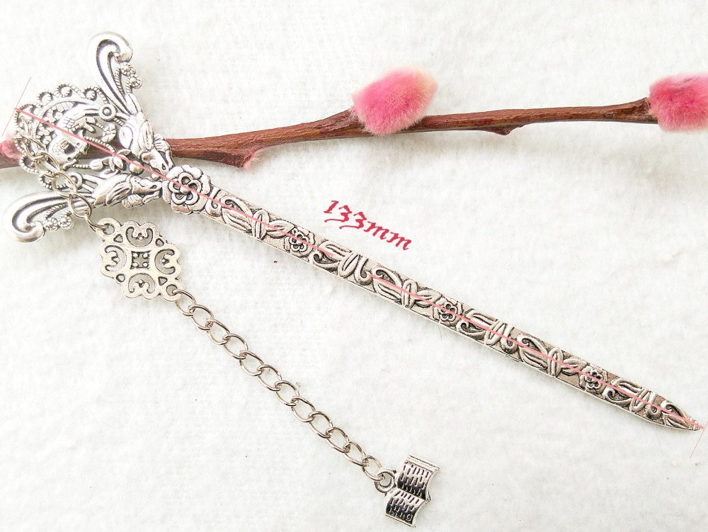 Free Shipping 1pcs 133x39mm Vintage Silver Hairpin Metal Bookmarks For Book Creative Item Kids Gift Stationery