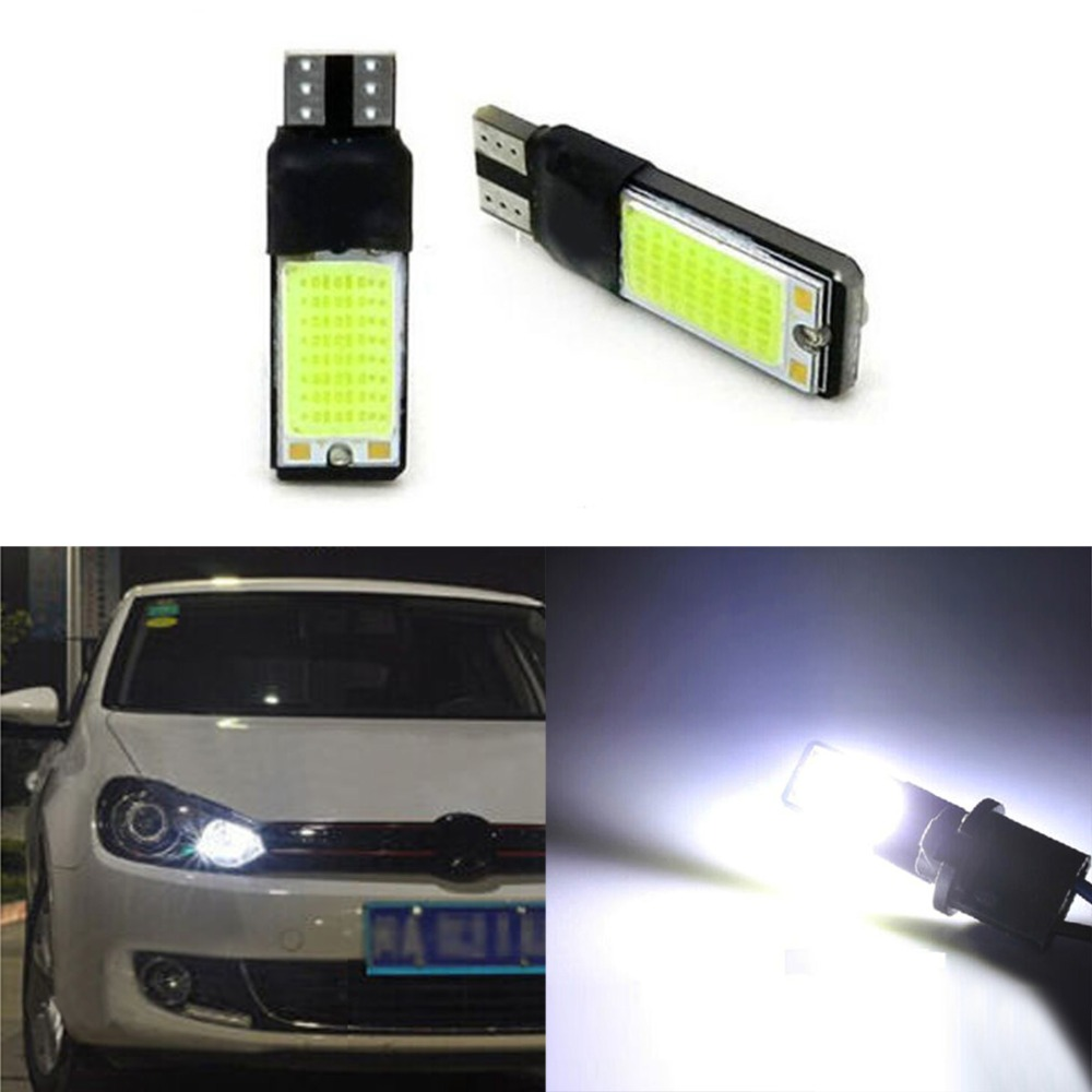 2pcs White Wedge Light 194 168 6W COB LED Car Canbus No Error Side Signal Lamp Bulb Auto Reading Number Plate Lights For Car