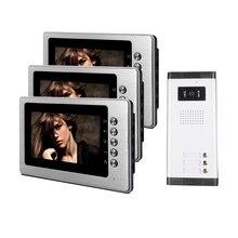 """ENVÍO de la Nueva 7 """"Pantalla a Color de Video Teléfono de La Puerta Sistema de Intercomunicación 3 Monitor + 1 Timbre de La Cámara de Metal para 3 Apartamento Familiar"""