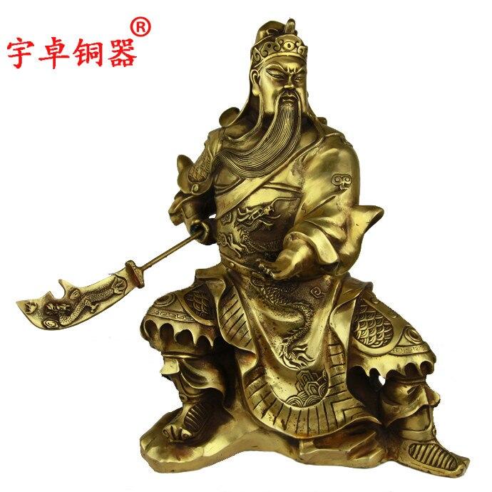 Yu Zhuo Guan Mountain Copper bronze ornaments font b knife b font Guan Gong sit Fortuna