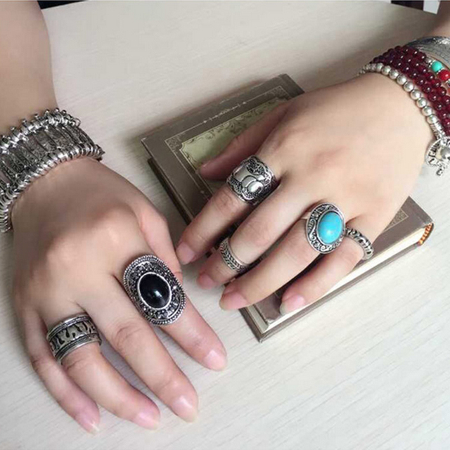 Vintage Bohemian Ring Set 4pcs