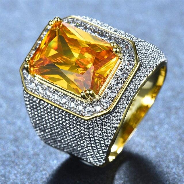 Gorgeous Big Male Female Pink Yellow Blue White Ring Crystal Zircon Stone Gold Engagement Ring Men Women Large Wedding Rings