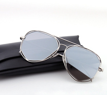 2017 Gentle Fashion Women pilot Sunglasses Classic Brand Designer Twin-Beams Coating Mirror Flat Panel Lens Summer with box