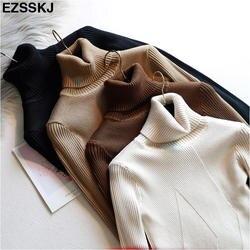 Шикарный осенне-зимний толстый свитер пуловеры женские с длинным рукавом Повседневные теплые базовые водолазки свитера женские вязаные