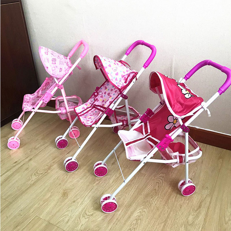 Foldable Doll Stroller Pram Pushchair Safe Baby Dolls Carriages Pretended Play Doll Accessories For Kids