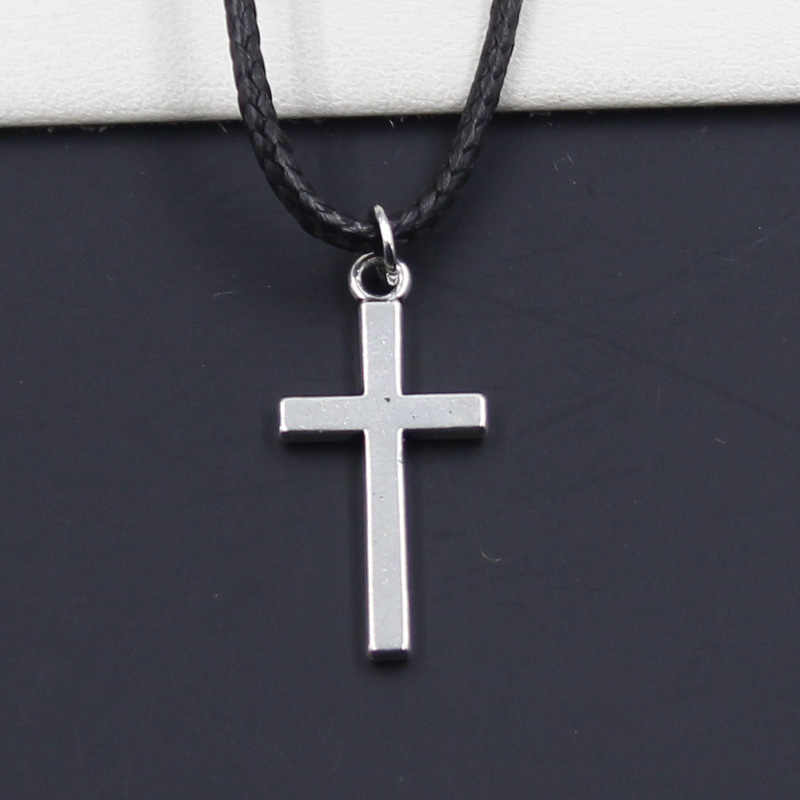 New Durable Black Faux Leather double sided cross Pendant Cord Choker DIY Necklace Retro Boho Tibetan Silver