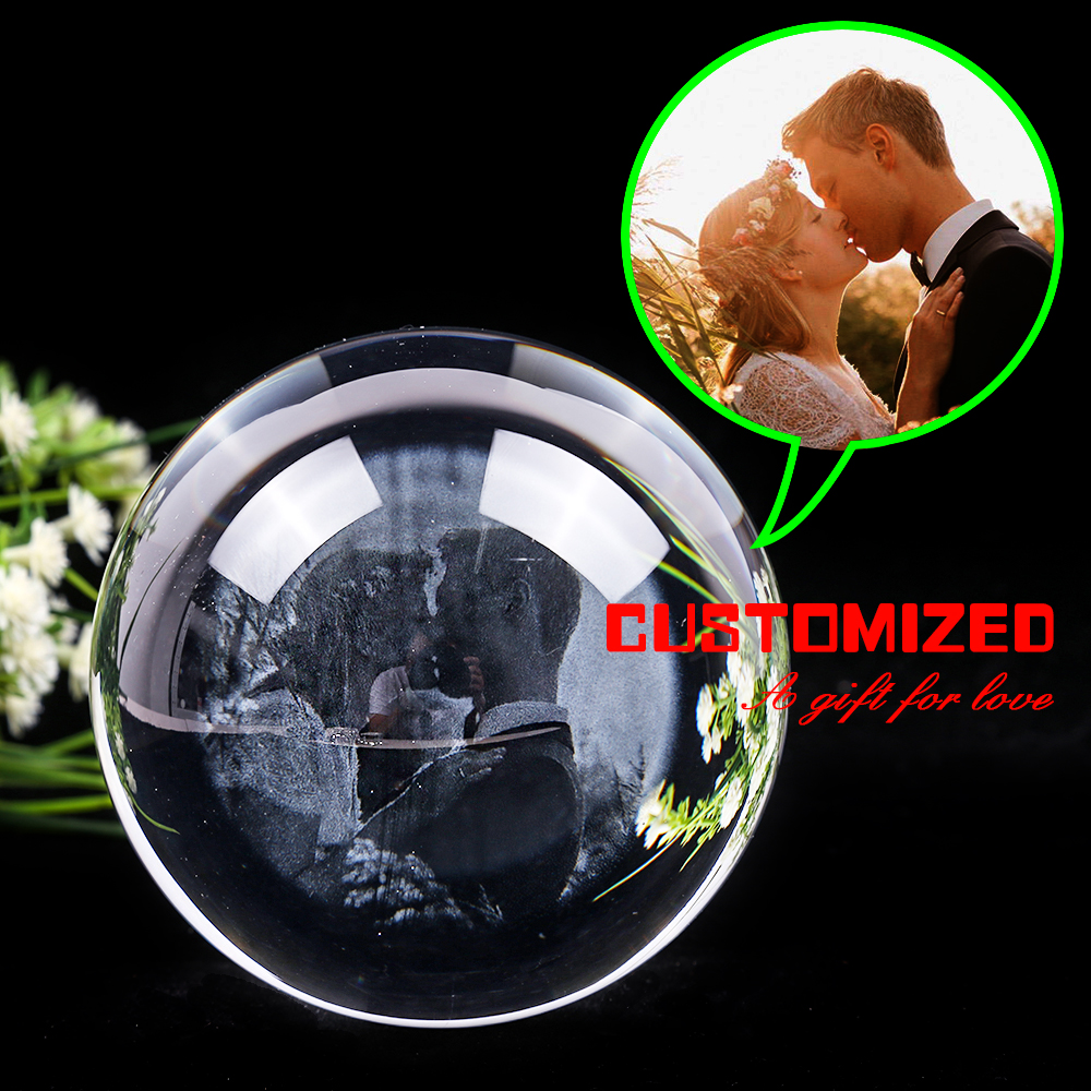 Personalized Decorative Crystal Balls Men Girlfriend Gifts Round Sphere Home Decor Ornament Accessories Valentines Birthday Gift