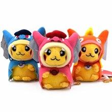2018  1pcs Kawaii 15cm Pikachu Cosplay Mega Charizard X Y Pikazard Magikarp Gyarados Keychain Keyring Pendant Stuffed Plush Toy