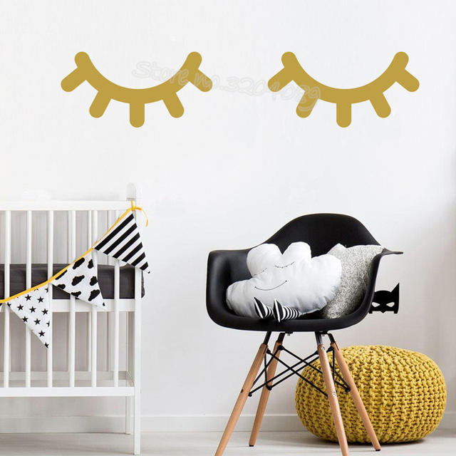 sleepy eyes wall decal good lashes home decor baby girl bedroom