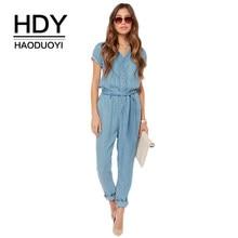 0965f6094134 HDY Haoduoyi Brand Summer 2018 Women Blue V Neck Tie Waist Denim Singal  Buttons Short Sleeve Female Elegant Casual Jumpsuits