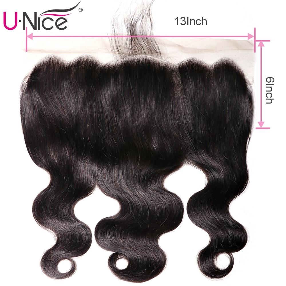 Unice 毛ブラジル実体波レースフロント 100% 人毛 13 × 6 耳に耳のレースの閉鎖レミーの毛前頭  グループ上の ヘアエクステンション & ウィッグ からの クロージャー の中 1