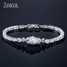 ZAKOL Fashion Water Drop Cubic Zirconia Chain Link Bracelets & Bangles for Women Wedding Jewelry Accessories Wholesale FSBP2046