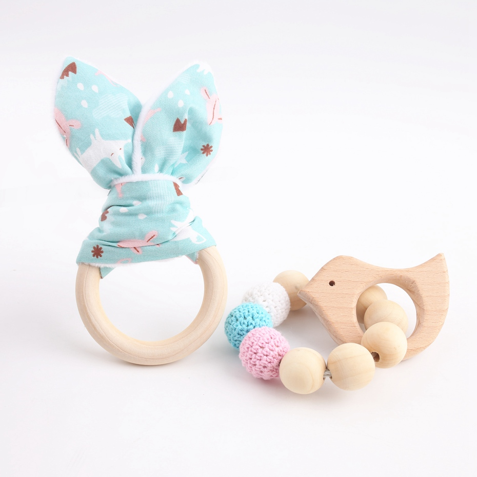 2pc/set Baby Accessories Organic Cotton Bunny Ear Classic Sensory Toy Food Grade Wooden Teether Baby Shower Gift Nurse Charms