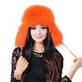 Fox sombrero de piel de invierno de la manera de las mujeres realmente real fox sombrero de piel lei feng mujeres fox sombrero de piel ruso variedad de colores sombreros bombardero h #20