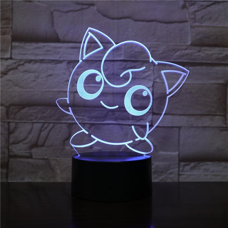 Pokemon Go Jigglypuff Figure Kids Night Lamp LED Bedside luminaria Baby Nightlight Child Holiday Gift 3D Night Light Jigglypuff in LED Night Lights from Lights Lighting