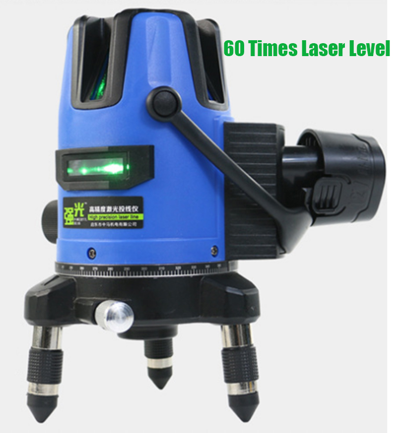 Xeast 12V Green Laser Level 2/3/5 Lines 360 Degrees Rotary 60 Times Auto Laser with 6600MAH battery Cross Line Lazer Level laser level 360 degree rotary cross laser cast thread can be used outdoor 2 lines 3 points green line laser level infrared laser