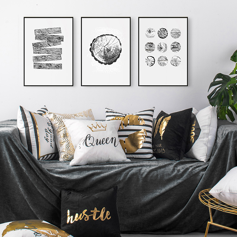 Nordic Design Gold Foil Printing Pillow Cushion Home Decor Sofa Waist Throw Pillows Leaves Lips Love Christmas Decorative 45*45