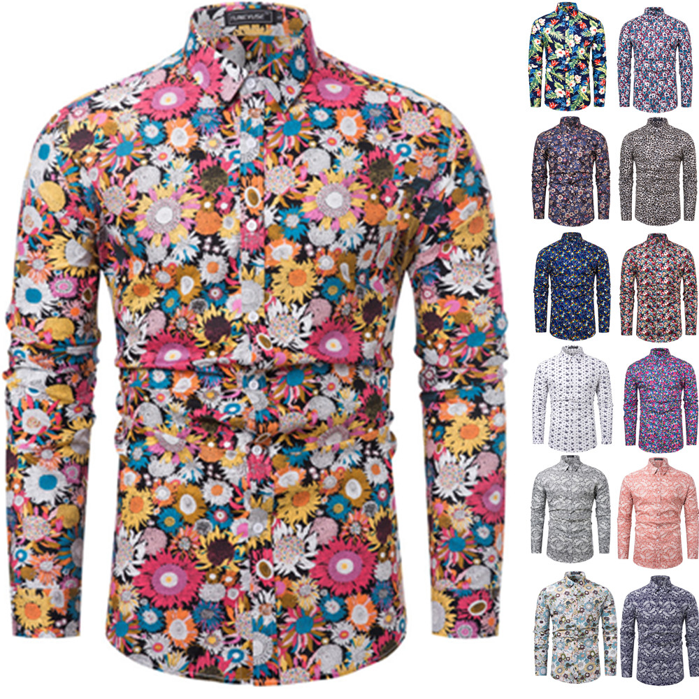 2019 Brand New Men Casual Shirts Retro Floral Printed Classic Men Dress Shirt Men's Long Sleeve Fashion Spring Shirts Tuc20