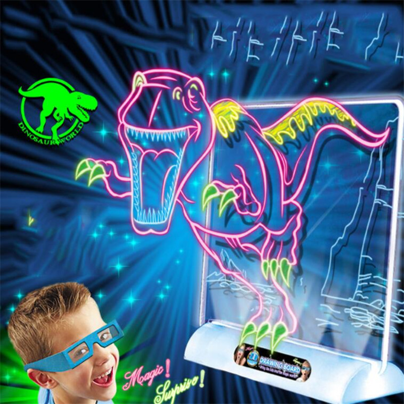 Image 3 - 3D Light Up Drawing Board Dinosaur Toys LCD early Educational Painting Erasable Doodle Magic Glow Pad with 3D Glasses Kids GiftDrawing Toys   -