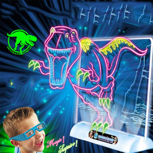 Image 3 - 3D Light Up Drawing Board Dinosaur Toys LCD early Educational Painting Erasable Doodle Magic Glow Pad with 3D Glasses Kids Gift