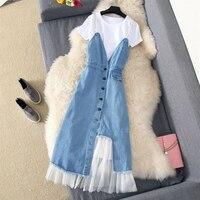 2019 Korean Summer Denim Dress Women Two Piece Jeans Long Sundress Streetwear Plus Size Spaghetti Strap Dress Ladies vestidos