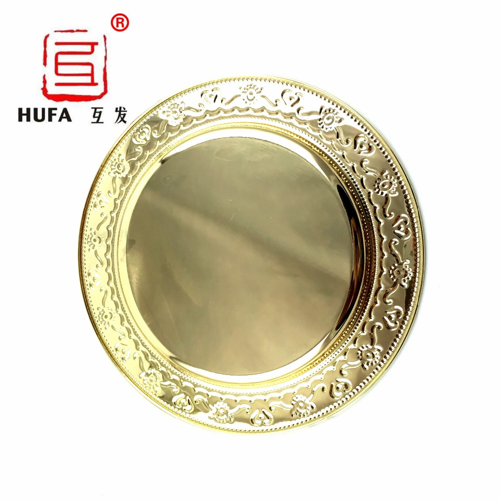 Gold Serving Tray Us 570 24cm 30cm 35cm 40cm Stainless Steel Golden Round Dish Plate Gold Serving Tray Big Fruit Plate Platos Dorados Metal Tray In Dishes