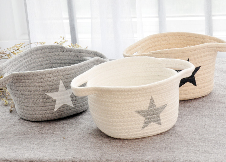 Small Washable Laundry Basket Storage Office Sundries Cotton Thread Handmade Knitting Ball Rattan Flower Basket Organizer Hamper