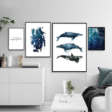 Watercolor Poster Nordic Art Print Living Room Canvas Seascape Picture Ocean Pictures Quotes Wall Dolphin Unframed