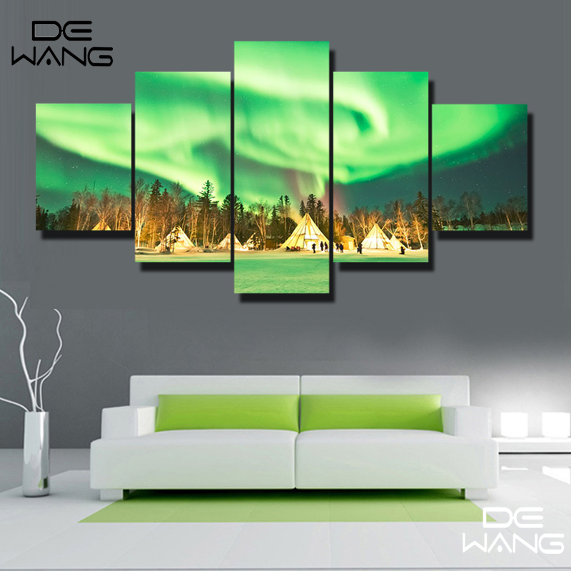 5 pieces canvas landscape modern northern light wall art for Modern home decor paintings