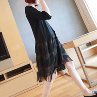 Spring and Summer New Fashion Tassel Pleated Black Dress 2019 Korean Women's Dresses Mid long Style Knitted Casual