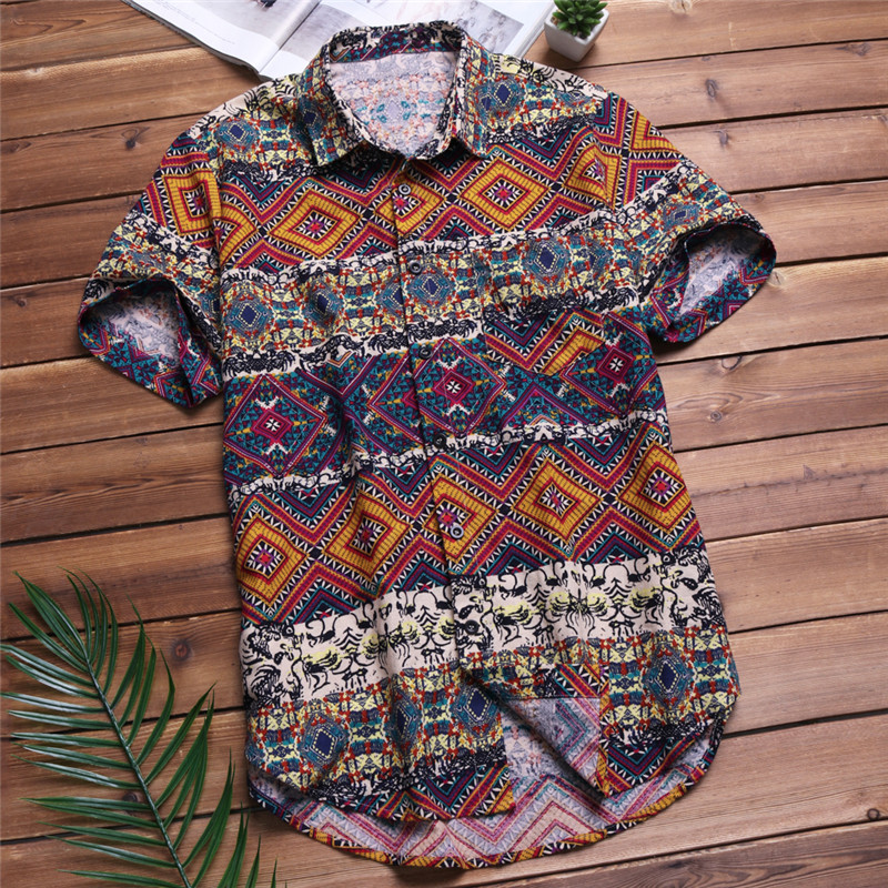 2019 Men Shirts Short Sleeve Printed Pocket Colorful Casual Blouse Ethnic Hawaiian Shirt Male Tops Summer Chemise Plus Size 5XL