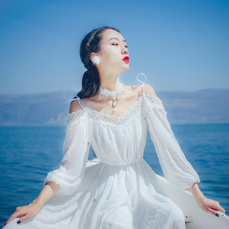 2019 Fashion Women Elegant Vintage Lace Chiffon White Dress Sexy Slash Neck Casual Bohemia Beach Summer