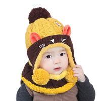 2017 Winter Baby Boys Girls Infant Child Cat Pattern Knit Venonat Scarf Hat Caps Warm Set
