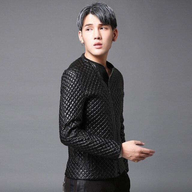 2017 primavera de invierno nuevos hombres de LA PU de cuero de moda masculina capa delgada fit espesar chaqueta casual estilo del punk rock para hombre outwear cuero W121