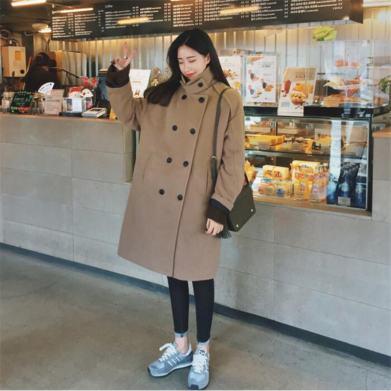 Winter New   Suede     Leather   Coat Women Lamb Wool Lining Thicken Casual Loose Warm Coats Double Breasted Long Outerwear Jacket A4034