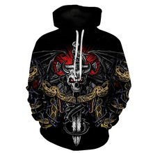 Newly Designed Sweetheart Skull Clown Abstract Painting Female / Male Fashion Hoodie , Death Game 3D Print S-6XL